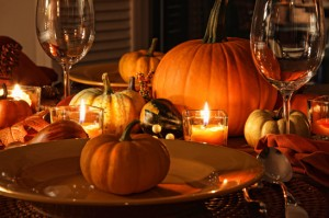 Festive autumn place settings with pumpkins